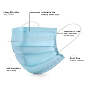 ASGARD® 3 Layer Protective Face Mask with NOSE CLIP, Certified by CE, ISO & GMP | TechBuy.in